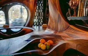 طراحی کافی شاپ با چوب