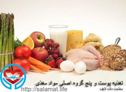 تغذیه پوست و پنج گروه اصلی مواد مغذی