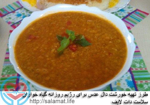 طرز تهیه خورشت دال عدس برای رژیم روزانه گیاه خواران