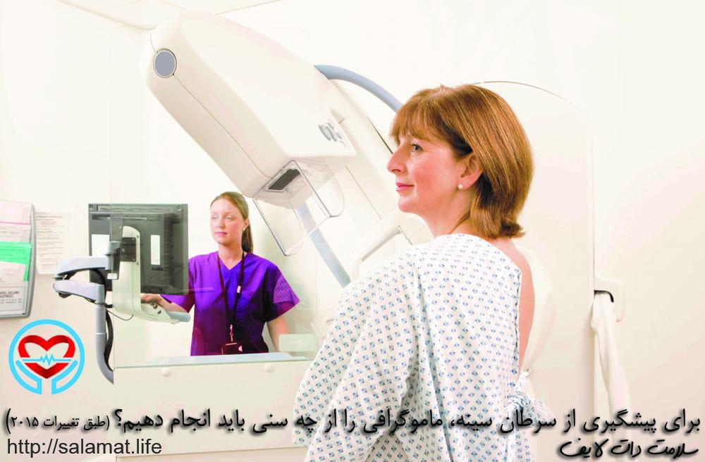 برای پیشگیری از سرطان سینه، ماموگرافی را از چه سنی باید انجام دهیم؟ (طبق تغییرات 2015)