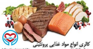 میزان کالری انواع مواد غذایی پروتئینی