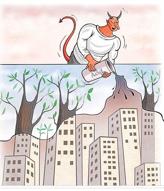 کاریکاتور اسید پاشی درختان