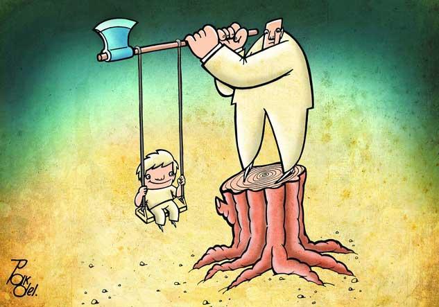 Image result for کاریکاتور قطع درختان